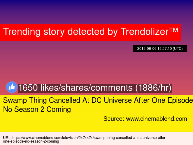 Swamp Thing Cancelled At DC Universe After One Episode, No